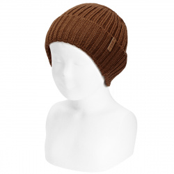 Merino wool-blend fold-over ribbed beanie CHOCOLATE
