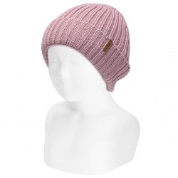 Merino wool-blend fold-over ribbed beanie PINK