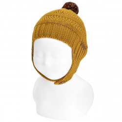 Baby merino wool hat with earflaps and pompom CURRY