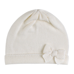 Baby merino wool-blend knit hat with bow BEIGE