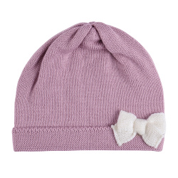 Baby merino wool-blend knit hat with bow PINK