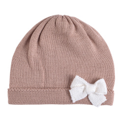 Baby merino wool-blend knit hat with bow MAKE-UP