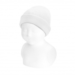 Fold-over ribbed cotton beanie WHITE