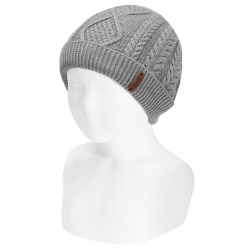 Fold-over braided knit hat with spikes ALUMINIUM