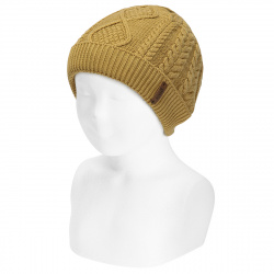 Fold-over braided knit hat with spikes MUSTARD