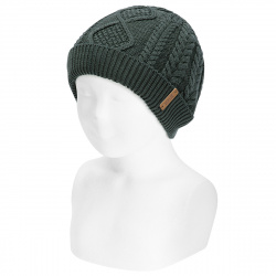 Fold-over braided knit hat with spikes PINE