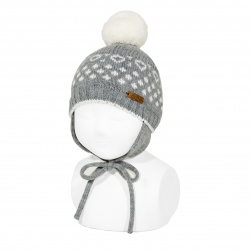 Iced beanie with earflaps and pompom LIGHT GREY