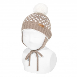 Iced beanie with earflaps and pompom NOUGAT