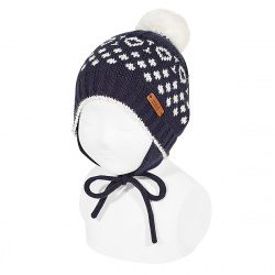 Iced beanie with earflaps and pompom NAVY BLUE