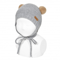 Sand stitch beanie with earflaps and pompoms LIGHT GREY