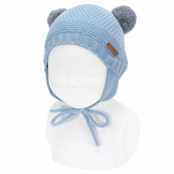 Sand stitch beanie with earflaps and pompoms CLOUD