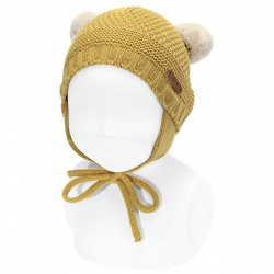 Sand stitch beanie with earflaps and pompoms MUSTARD