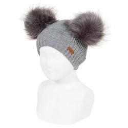 Mixed-stitch knit hat with giant faux fur pompom LIGHT GREY