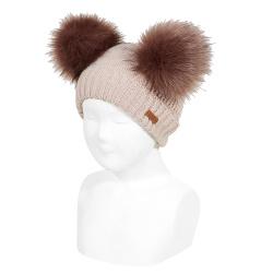 Mixed-stitch knit hat with giant faux fur pompom STONE