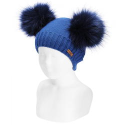 Mixed-stitch knit hat with giant faux fur pompom ATLANTIC