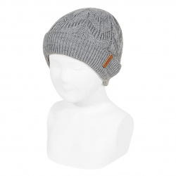 Ribbed fold-over knit hat with spikes LIGHT GREY