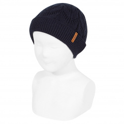 Ribbed fold-over knit hat with spikes NAVY BLUE
