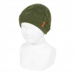 Ribbed fold-over knit hat with spikes AMAZONIA