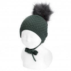 Honeycomb knit hat with faux fur pompom PINE