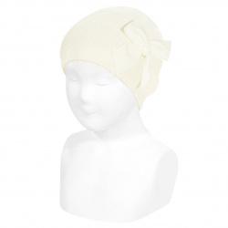 Garter stitch knit hat with big velvet bow BEIGE