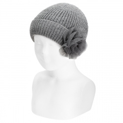 English stitch fold-over knit hat w/tulle flower LIGHT GREY