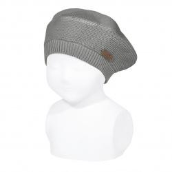 Garter stitch beret LIGHT GREY