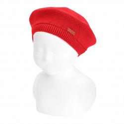 Garter stitch beret RED