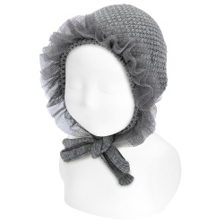 Baby sand stitch bonnet with gathered tulle LIGHT GREY