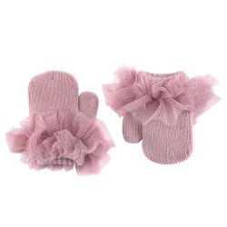 Mittens with gathered tulle PALE PINK