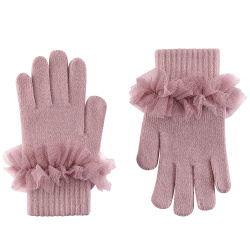 Gloves with gathered tulle PALE PINK