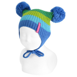 Baby multicolour pompom knit hat with earflaps ELECTRIC BLUE
