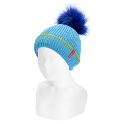 English stitch knit hat w/faux fur pompom TURQUOISE