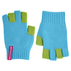 Bicolour fingerless gloves TURQUOISE