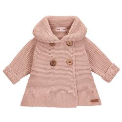 Girls garter stitch coat OLD ROSE