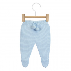 Garter stitch footed leggings with pompoms BABY BLUE