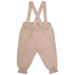 Garter stitich trousers with suspenders STONE