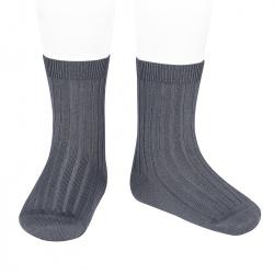 Basic rib short socks COAL