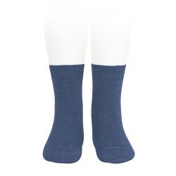 Plain stitch basic short socks COBALT