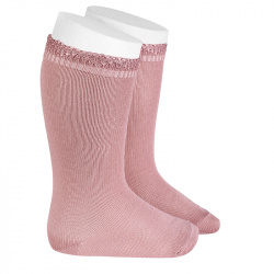 Ceremony knee-high socks with openwork cuff PALE PINK