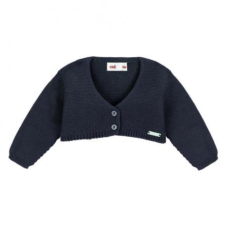 Garter stitch bolero cardigan NAVY BLUE