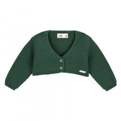 Garter stitch bolero cardigan BOTTLE GREEN