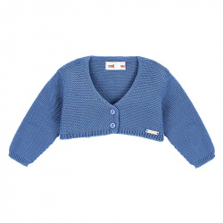 Garter stitch bolero cardigan FRENCH BLUE