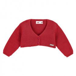 Garter stitch bolero cardigan RED