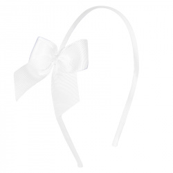 Headband with grossgrain bow WHITE