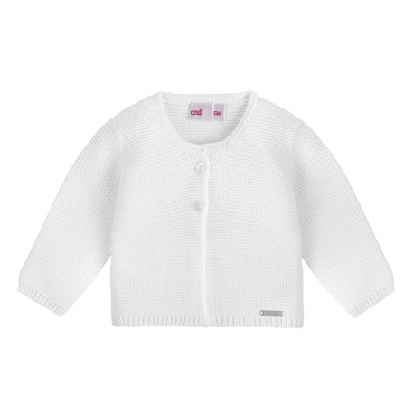 Garter stitch cardigan WHITE
