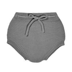 Garter stitch culotte with cord LIGHT GREY