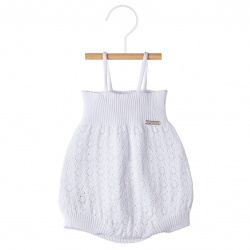 Shell openwork rompersuit WHITE