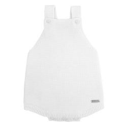 garter stitch baby romper WHITE