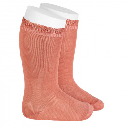Ceremony knee-high socks with openwork cuff PEONY