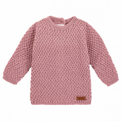 Merino blend sweater in micro relief PINK